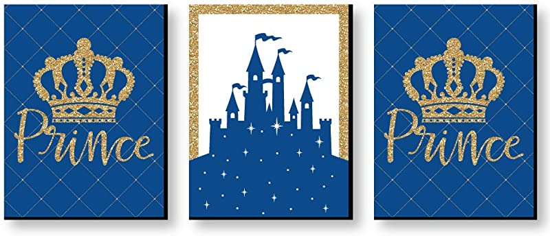 Big Dot Of Happiness Royal Prince Charming Baby Boy Nursery Wall Art And Kids Room Decorations 7 5 X 10 Inches Set Of 3 Prints