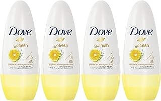Dove Antiperspirant Deodorant Roll-On, Go Fresh Grapefruit & Lemongrass, 1.7 Oz / 50 Ml (Pack of 4)