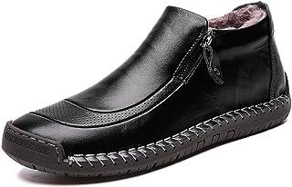 LIEBE721 Botas de Invierno de los Hombres de Velvet Retro cómodos Zapatos de Nieve de Cuero de la Cremallera cómoda para C...