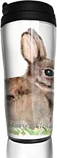 Coffee Cups Rabbit Oil Painting Travel Tumbler Insulated Leak Proof Drink Containers Holder Hot 12 Ounces