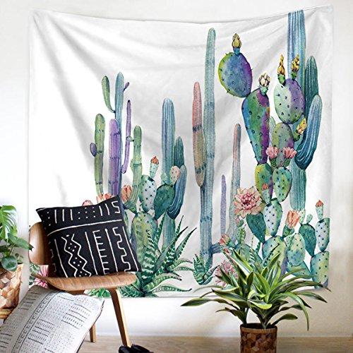 Koongso Tapiz para colgar en la pared con diseño de cactus de pera, hippie, decoración de manualidades, manta de playa para decoración de dormitorio de 152 cm de ancho x 152 cm de largo