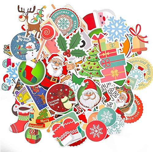 OBSGUMU 200Pcs No Repetition Merry Christmas Stickers Chriatmas Tags for Kids,Adult.Envelopes Gifts,Windows,Laptop,Luggage, Skateboard,Crafts,Bottle Stickers for Christmas Decorations