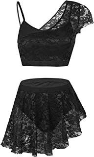 Agoky Women's Lace Ballet Dance Costumes 2 Piece Lyrical Contemporary Dresses Crop Top with Asymmetric Skirt Set
