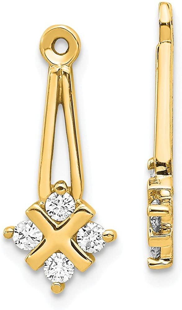 Solid 14k Yellow Gold VS Dangle Cluster Diamond Earring Jacket - 20mm x 8mm (.28 cttw.)