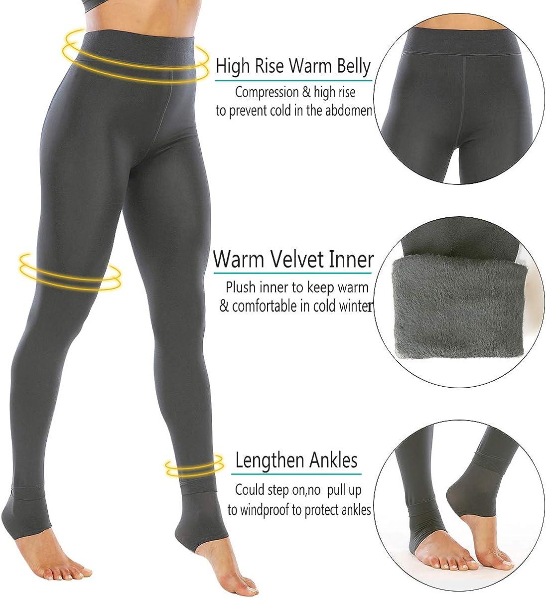 NORMOV Winter Warm Fleece Lined Leggings for Women Thermal Tights Velvet Pants