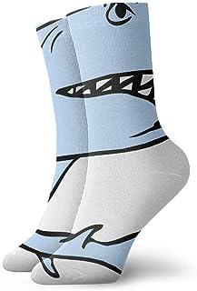 tyui7, Calcetines de compresión antideslizantes de tiburón de dibujos animados Calcetines deportivos de 30 cm acogedores para hombres, mujeres, niños