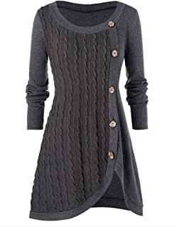 Women's Plus Pullover Sweaters Comfy Long Sleeve Boat Neck Button Patchwork Sweater Tops