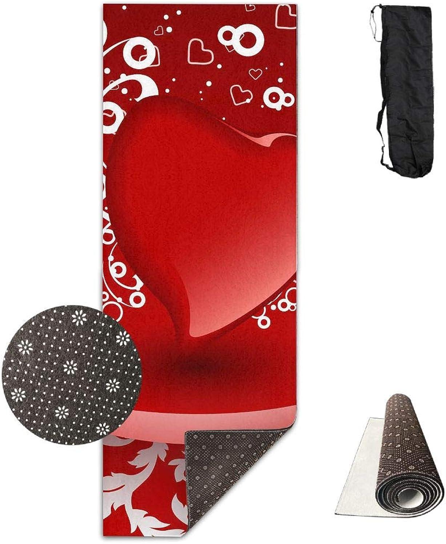 Yoga Mat Non Slip 24  X 71  Exercise Mats Valentine's Day Premium Fitness Pilates Carrying Strap