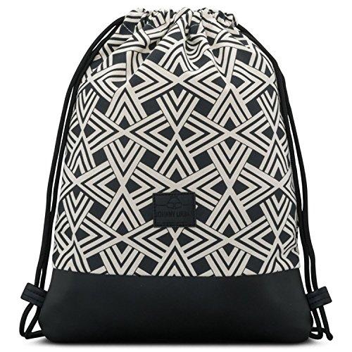 Johnny Urban Drawstring Bag Cotton Black Noah Pattern Gymsack Sackpack...