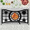 Empava 36 in. Gas Stove Cooktop with 5 Sealed Burners-Heavy Duty Continuous Grates-NG/LPG Convertible, 36 Inch, Stainless Steel