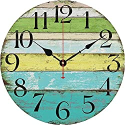 Elikeable Decorative Wall Clock,12 Vintage Wooden Decorative Round Beach Silent Wall Clock Non Ticking for Home Decor (Ocean)