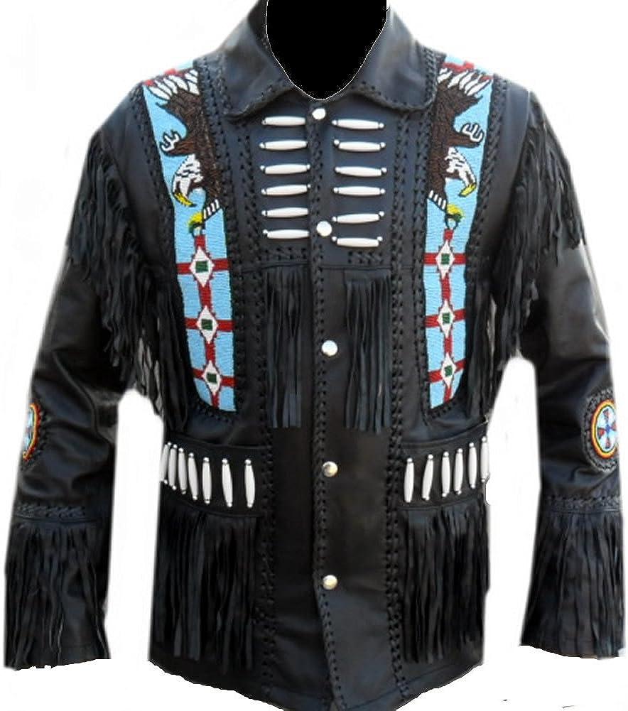 coolhides Mens Eagle Beads Western Leather Jacket