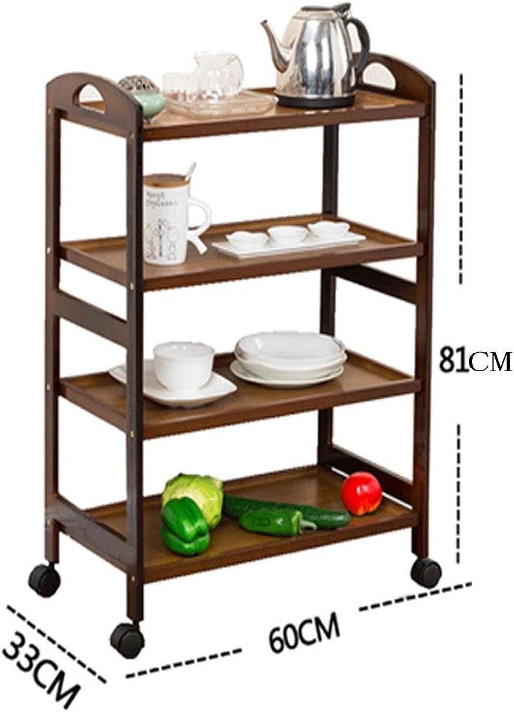 Kitchen Rack Movable Wheeled Cart Dining Car Floor Multi-Layer Shelf Storage Rack Finishing Storage Shelf (color   Brown)