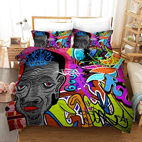AHKGGM Duvet cover set Double Gente de graffiti de color Bedding 3 pcs Microfiber duvet cover 79x79 inch with zipper closure And 2 pillowcases 20x30 inch -for adults and children's bedrooms