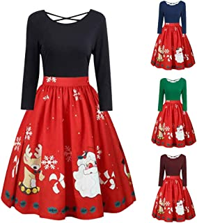 Women's Christmas Plus Size Dress Print Pleated Skater Party Cocktail Dresses Womens Criss Cross Gown Evening Dresses