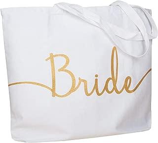 ElegantPark Bride Jumbo Tote Bag Wedding Bridal Shower Gifts Canvas 100% Cotton Interior Pocket White with Gold Glitter