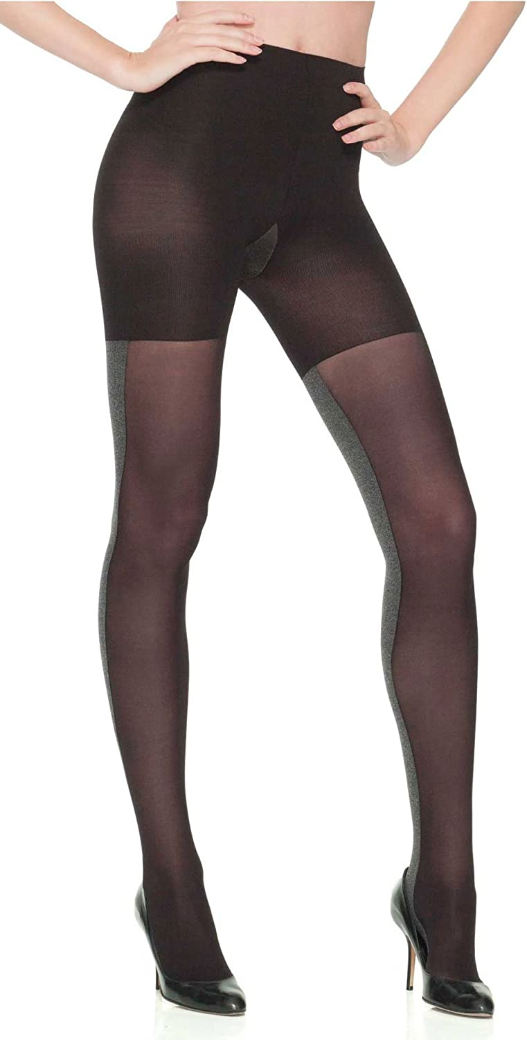 SPANX Tight-End-Tights Heathered Contrast, Black/Gray