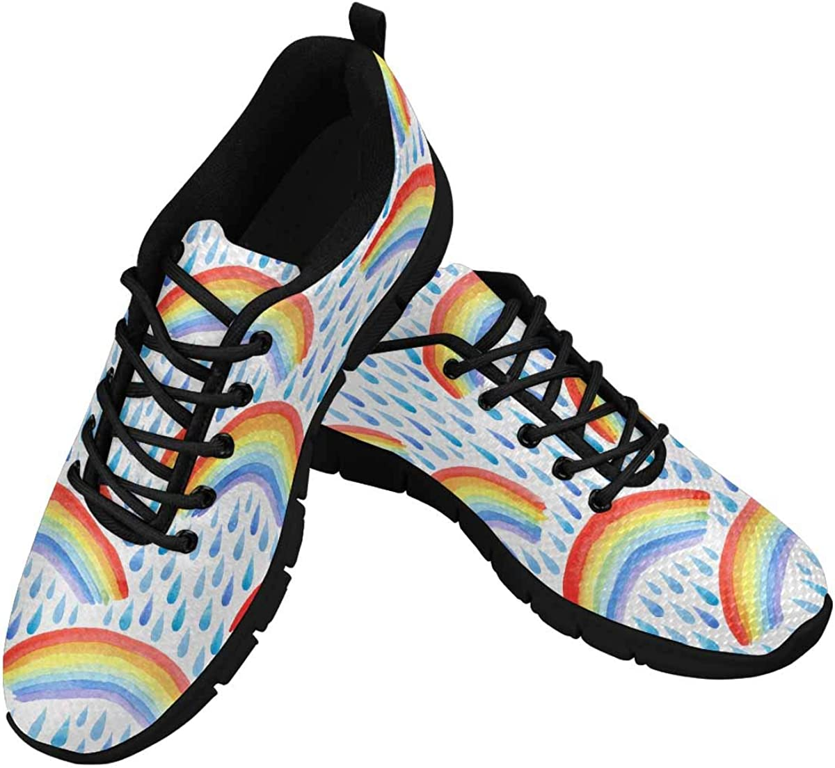 INTERESTPRINT Rainbow Rainy Women's Athletic Mesh Breathable Casual Sneakers Fashion Tennis Shoes