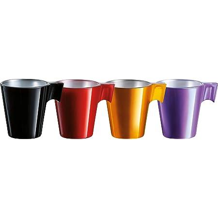 Luminarc - Tasse Flashy Longo 22cl - Verre Trempé - Design Ultra-Contemporain - Compatible Micro-Ondes et Lave-Vaisselle - Encre Organique - Fabrication Française