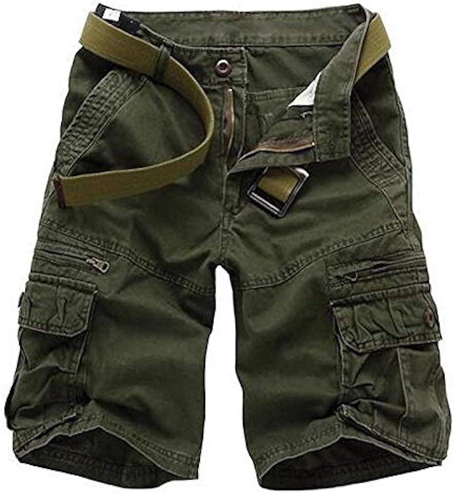 Cicilin Men's Cargo Shorts Cotton Casual Work Combat Shorts Workwear (No Belt)