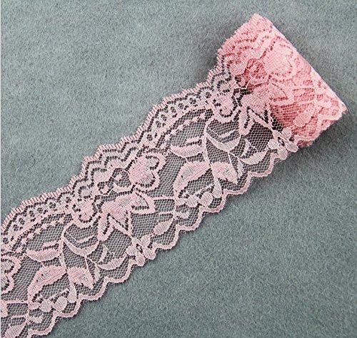 Yulakes - Cinta de encaje vintage de 5,5 cm de ancho, encaje con borde de encaje, banda de encaje decorativa, manualidades, banda de lijado (color rosa)