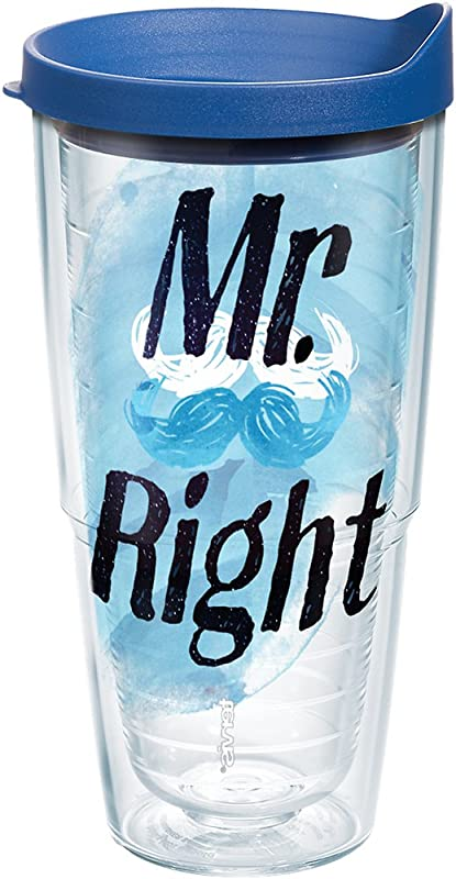 Tervis 1243911 Mr Right Mustache Tumbler With Wrap And Blue Lid 24oz Clear