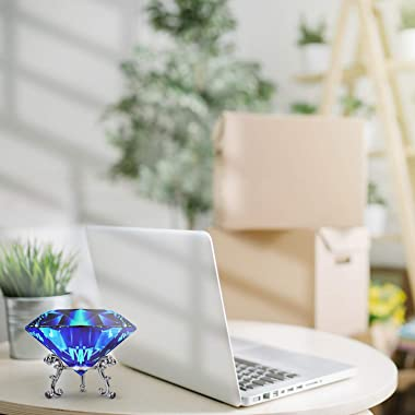 Large Crystal Diamond Paperweight with Stand Jewels Wedding Decorations Centerpieces Home Decor 3.15 inch (Blue)