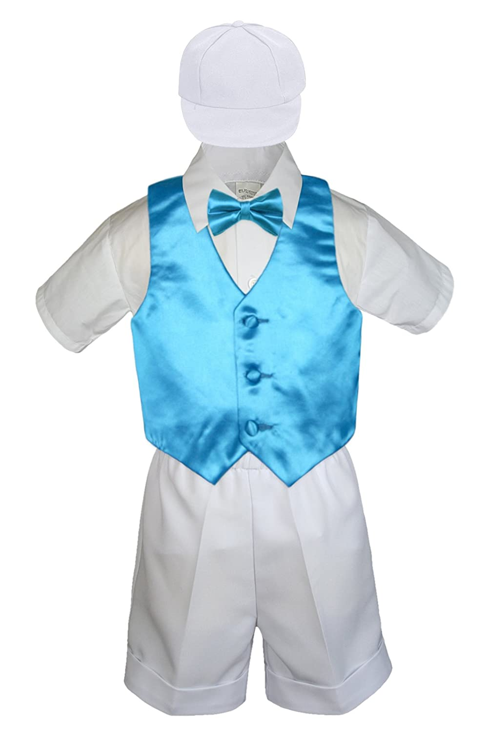 5pc Baby Toddler Boys Turquoise Fresno Mall Blue Suit Vest Tie Bow Set White Dealing full price reduction