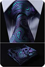 HISDERN Paisley Tie for Men Handkerchief Woven Classic Floral Men's Necktie & Pocket Square Set