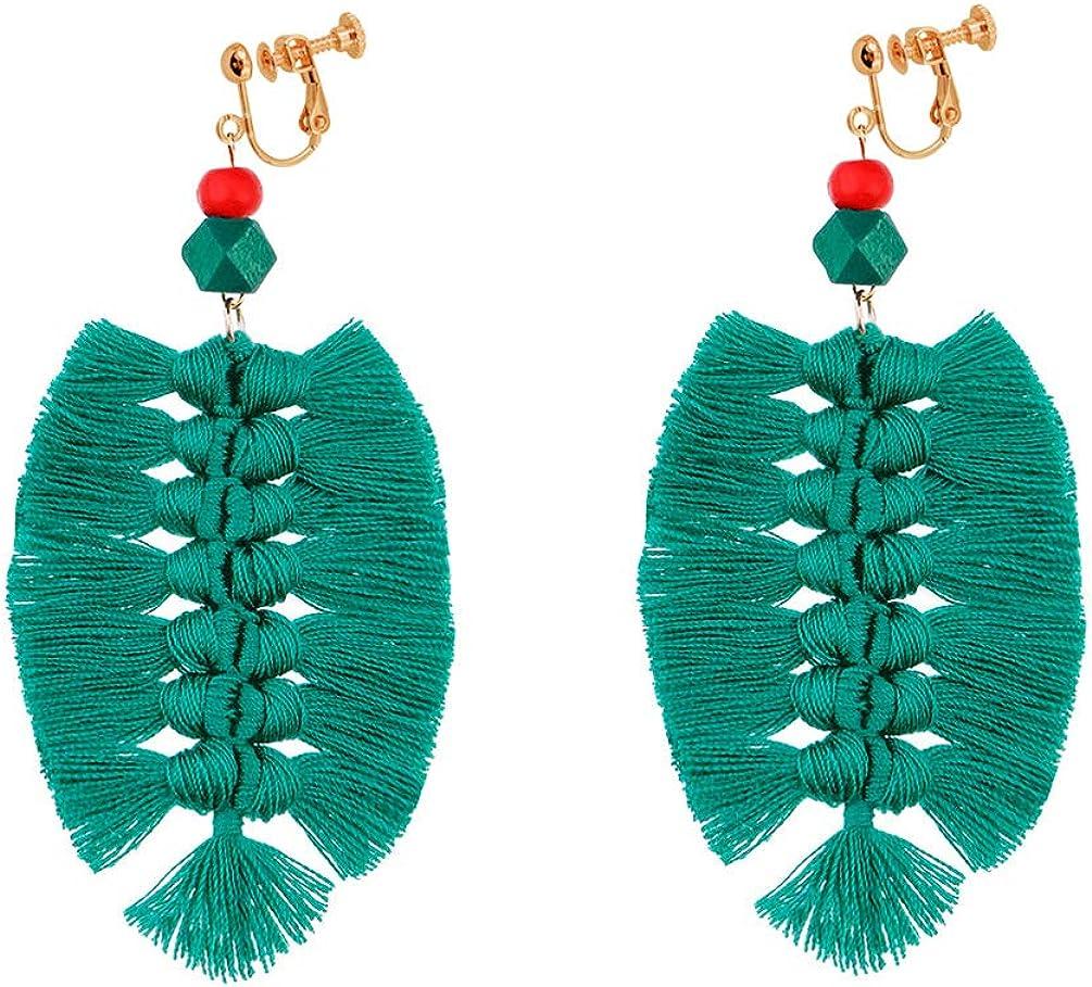 Bohemian Clip on Earrings non Pierced Dangle leaf Shape Thread Tassel Fringe Handmade Women Girl Green