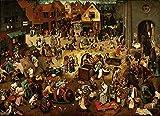JH Lacrocon Pieter Bruegel el Viejo - La Lucha Entre Carnaval Cuaresma Reproducción Cuadro sobre Lienzo Enrollado 120X80 cm - Pinturas Renacimiento Flamenco Impresións Decoración Muro