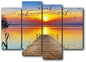 HOMEDCR Murals Calligraphy Painting 4 Panel Wooden Bridge Sunset Flying Bird Art Posters And Prints Home Living Room Decoration