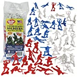 TimMee Plastic Army Men - Red White & Blue 72pc Soldier Figures - Made in USA