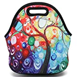 ICOLOR Colorful Tree Insulated Neoprene Lunch Bag Tote Handbag lunchbox Food Container Gourmet Tote Cooler warm Pouch For School work Office