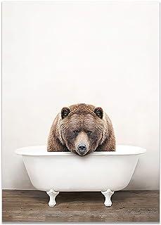 JWJQTLD Impression sur Toile,Bébé Animal Peinture Baignoire Pépinière Mur Art Toile Affiches Imprime Photos Salle De Bain ...
