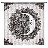 AMHNF Sonne & Mond Duschvorhang Mandala Celestial Boho Mond Vintage Bohemia Blumendruck Home Badezimmer Dekor schnell trocknend Stoff Vorhang mit 12 Haken, 178 x 178 cm, schwarz grau