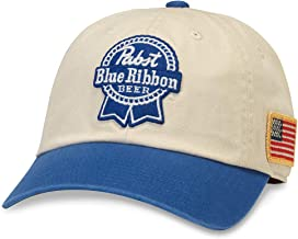 American Needle United Slouch Pabst Blue Ribbon Beer Baseball Dad Hat (PBC-1909A-IROY)
