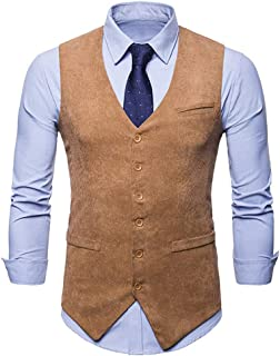Mens Waistcoat Casual Slim Fit Skinny Formal Waistcoat Solid Color Vest Collocation Youth Suit Vest Jacket Apply to Weddin...