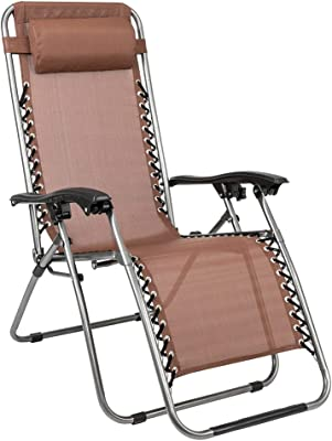YCYG 2PCS Zero Gravity Lounge Chair Brown with Portable Cup Holder Table