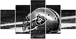 Oakland Raiders NFL Team Logo Pictures for Wall Art Paintings 5 Piece Canvas Living Room Decor Abstract Artwork House Decoration Poster Prints Framed Ready to Hang(60''Wx32''H)