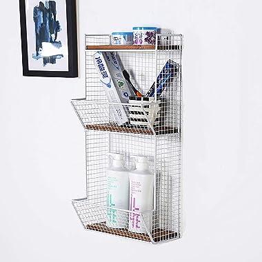 FGDSA Racks CD DVD Racks de Stockage CD Mode 3 Couches, étagère Murale Iron Art, Porte-revues Multifonctionnel, étagère Mural