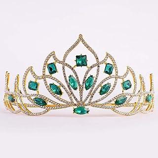 Dongyu Corona, Copricapo Femminile Copricapo da Sposa E Corona Accessori for Capelli da Sposa Accessori Moda (Color : Green)