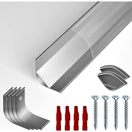 NITO Eckprofil Aluminium eloxiert L Montageclips 2,97cm inkl Aluprofil f/ür Stripes bis 20mm Breite 2m x B Milchig-wei/ß Opal Endkappen Alu Kanal f/ür LED Streifen 2,97cm x H