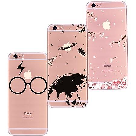 Freessom Lot de 3 Coque iPhone 5/5s SiliconeTransparente Motif Univers Space Noir Lunette Fleur de Cerisier Rose Kawaii Souple Dessin Fantaisie Anti ...