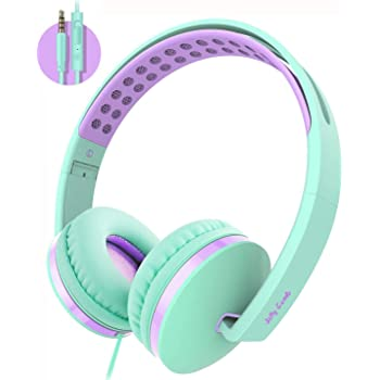 Kids Headphones for School, Jelly Comb Girls Lightweight Foldable Stereo Bass Kids Headphones with Microphone, Volume Control for Cell Phone, Tablet, Laptop, MP3/4(Green & Purple)- For Aged 6 or Above