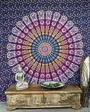 Boho-Style Wandbehang, indische Tagesdecke Mandala Druck- blau/lila / Mandala Tagesdecken und Wandtücher