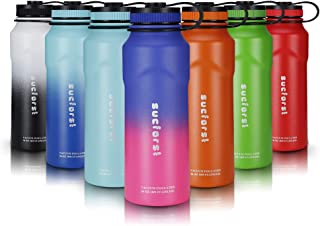 SUCFORST Sports Water Bottle +2 Straw Lid, Vacuum Insulated Wide Mouth Thermos Flask, Hot 12 Hours & Cold 24 Hours - Powder Coated Double Walled Metal Bottles - 36 Oz, Blueberry/Pink