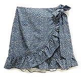 WXDSNH Falda con Cordones De Cintura Alta para Mujer con Falda con Cremallera Y Estampado Irregular con Volantes