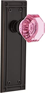 Nostalgic Warehouse 724729 Mission Plate Privacy Waldorf Pink Door Knob in Timeless Bronze, 2.375