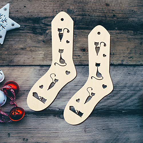 Wooden Adult Sock Blockers Handmade Sock Form Blockers Stocking Stretchers Hand Knit Socks Knitting Gift Ideas for Knitter Christmas Birthday Women Wife Gift -Cat Design